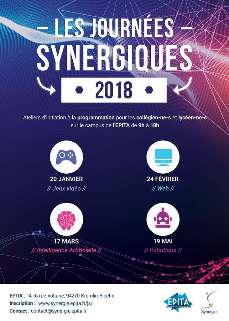 Affiche des Journées Synergiques 2018 de l'école des ingénieurs en intelligence informatique EPITA