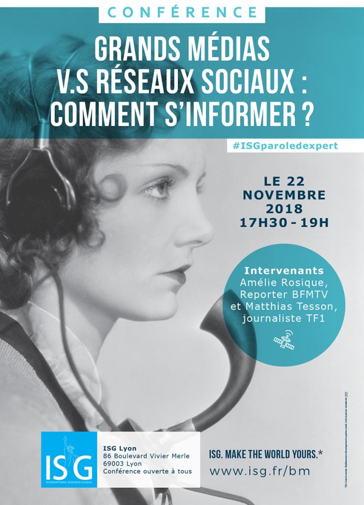 Affiche de la conférence ISG Lyon : Grands Médias vs Réseaux Sociaux : comment s'informer