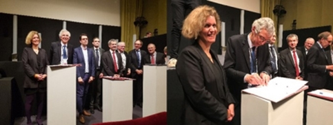 Philippe LUSCAN, vice-président Exécutif des Affaires Industrielles Globales de Sanofi et Vanessa PROUX, directrice générale de Sup'Biotech à la signature du partenariat